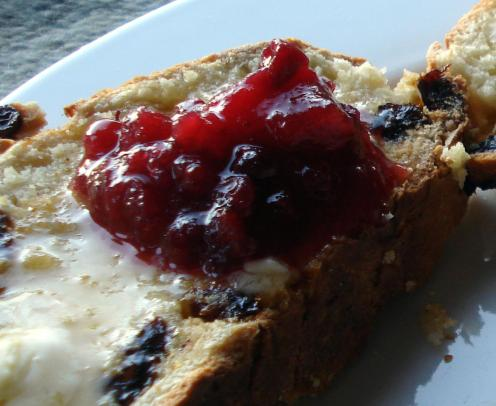 Irish soda bread, lingonberry jam