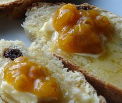 Irish soda bread, cloudberry jam